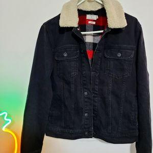 Topman faux shearling collar denim jacket